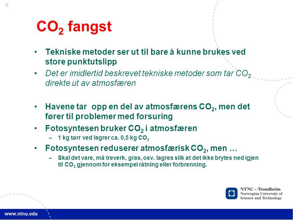 8 CO 2 fangst •Tekniske metoder ser ut til bare å kunne brukes ved store punktutslipp •Det er imidlertid beskrevet tekniske metoder som tar CO 2 direkte ut av atmosfæren •Havene tar opp en del av atmosfærens CO 2, men det fører til problemer med forsuring •Fotosyntesen bruker CO 2 i atmosfæren –1 kg tørr ved lagrer ca.