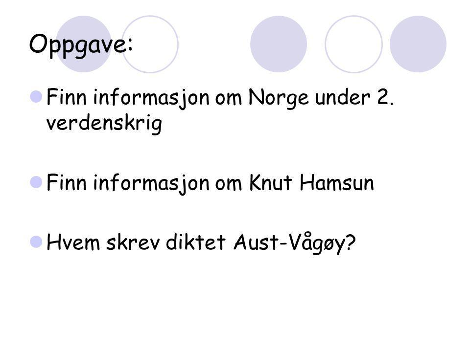 Oppgave:  Finn informasjon om Norge under 2.