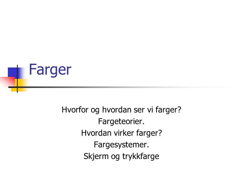 GP Høst 2001Høgskolen i Ålesund2 Farger og sanser Vi mennesker opplever farger både subjektivt og objektivt.