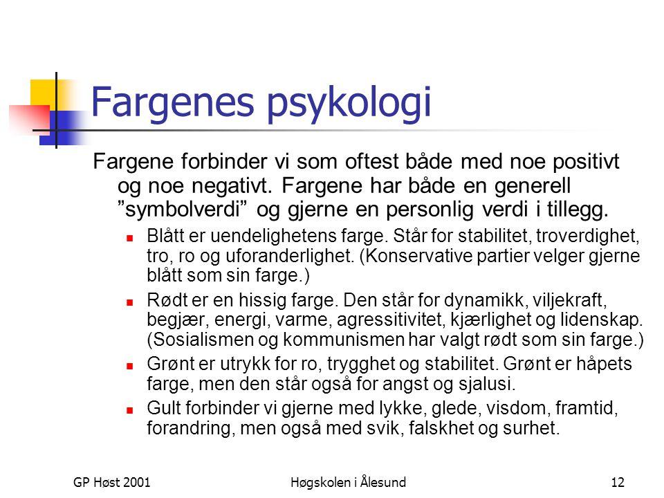 GP Høst 2001Høgskolen i Ålesund12 Fargenes psykologi Fargene forbinder vi som oftest både med noe positivt og noe negativt. Fargene har både en genere