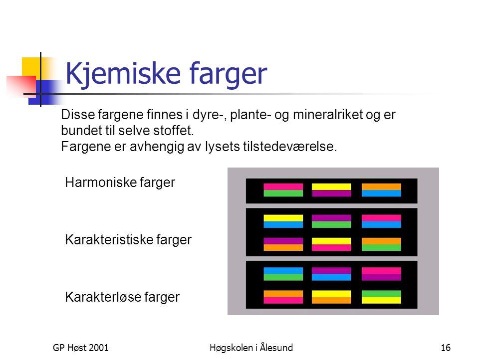 GP Høst 2001Høgskolen i Ålesund16 Kjemiske farger Disse fargene finnes i dyre-, plante- og mineralriket og er bundet til selve stoffet. Fargene er avh