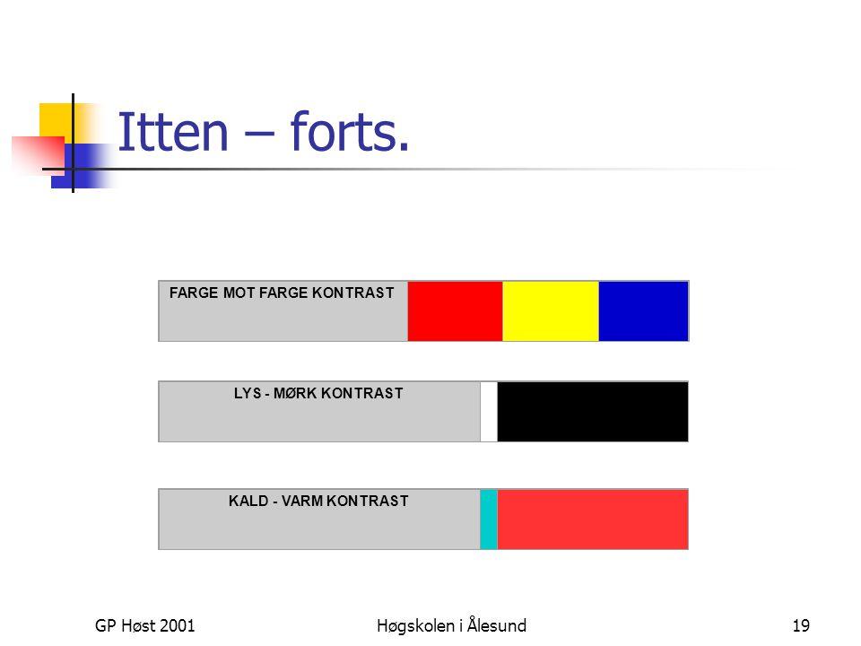 GP Høst 2001Høgskolen i Ålesund19 Itten – forts. FARGE MOT FARGE KONTRAST LYS - MØRK KONTRAST KALD - VARM KONTRAST