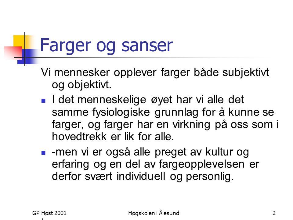 GP Høst 2001Høgskolen i Ålesund2 Farger og sanser Vi mennesker opplever farger både subjektivt og objektivt.  I det menneskelige øyet har vi alle det