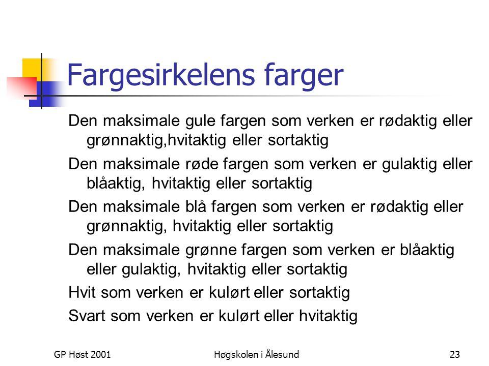 GP Høst 2001Høgskolen i Ålesund23 Fargesirkelens farger Den maksimale gule fargen som verken er rødaktig eller grønnaktig,hvitaktig eller sortaktig De