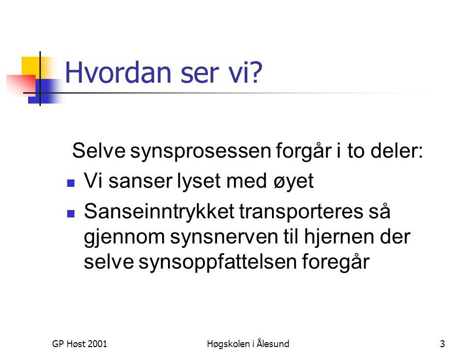 GP Høst 2001Høgskolen i Ålesund3 Hvordan ser vi? Selve synsprosessen forgår i to deler:  Vi sanser lyset med øyet  Sanseinntrykket transporteres så