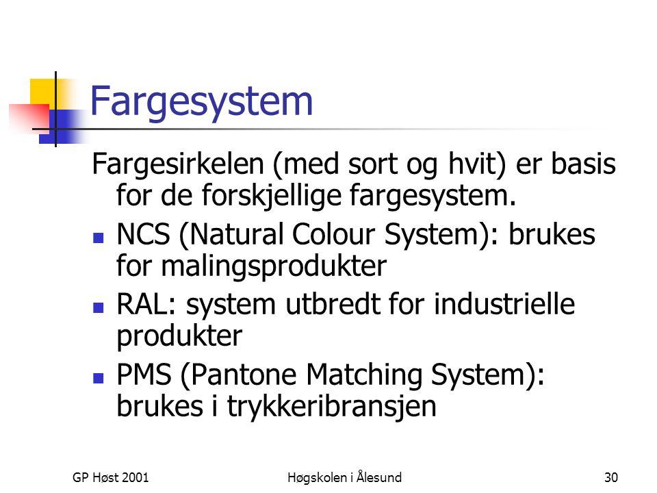 GP Høst 2001Høgskolen i Ålesund30 Fargesystem Fargesirkelen (med sort og hvit) er basis for de forskjellige fargesystem.  NCS (Natural Colour System)