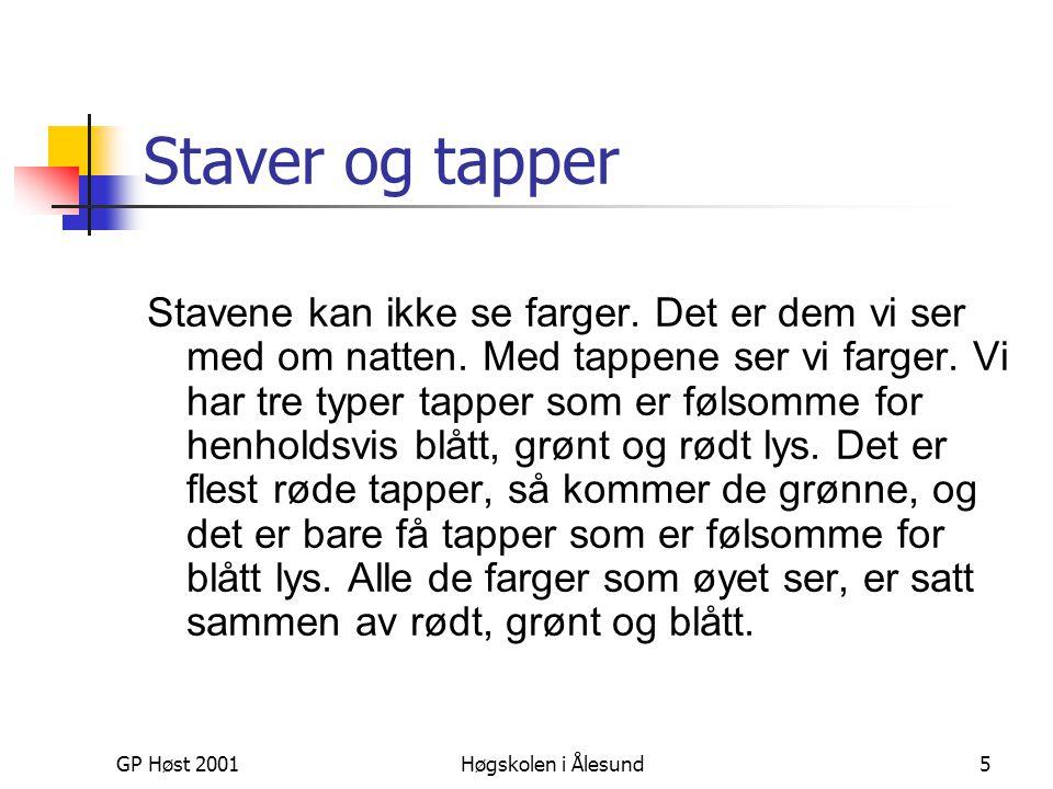 GP Høst 2001Høgskolen i Ålesund5 Staver og tapper Stavene kan ikke se farger. Det er dem vi ser med om natten. Med tappene ser vi farger. Vi har tre t
