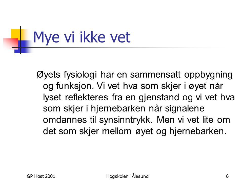 GP Høst 2001Høgskolen i Ålesund27 Farge på skjerm  Additive farger – lysfarger med primærfarger: R ed B lue G reen  Tar utgangspunkt i en mørk flate og tilfører lys som skaper farge (monitor/videokanon/TV etc)  Har 256 fargetoner av hver farge (0-255)