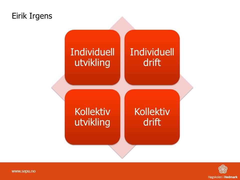 Eirik Irgens Individuell utvikling Individuell drift Kollektiv utvikling Kollektiv drift www.sepu.no