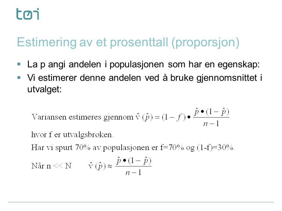 Estimering av et prosenttall (proporsjon)  La p angi andelen i populasjonen som har en egenskap:  Vi estimerer denne andelen ved å bruke gjennomsnittet i utvalget: Metodekurs utvalgsteori 13.