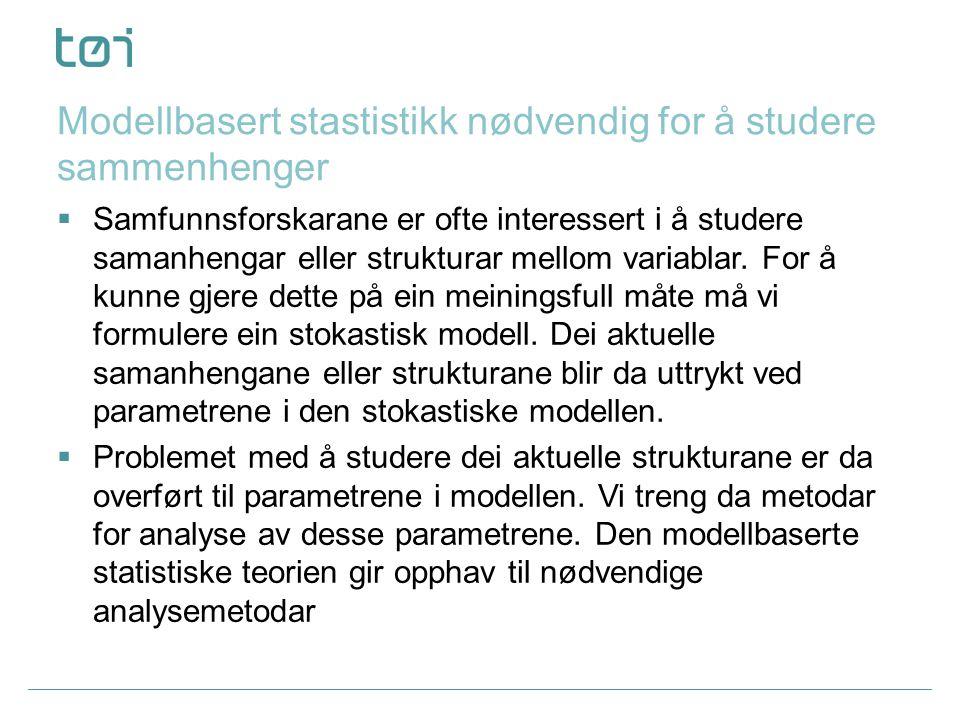Modellbasert stastistikk nødvendig for å studere sammenhenger  Samfunnsforskarane er ofte interessert i å studere samanhengar eller strukturar mellom variablar.