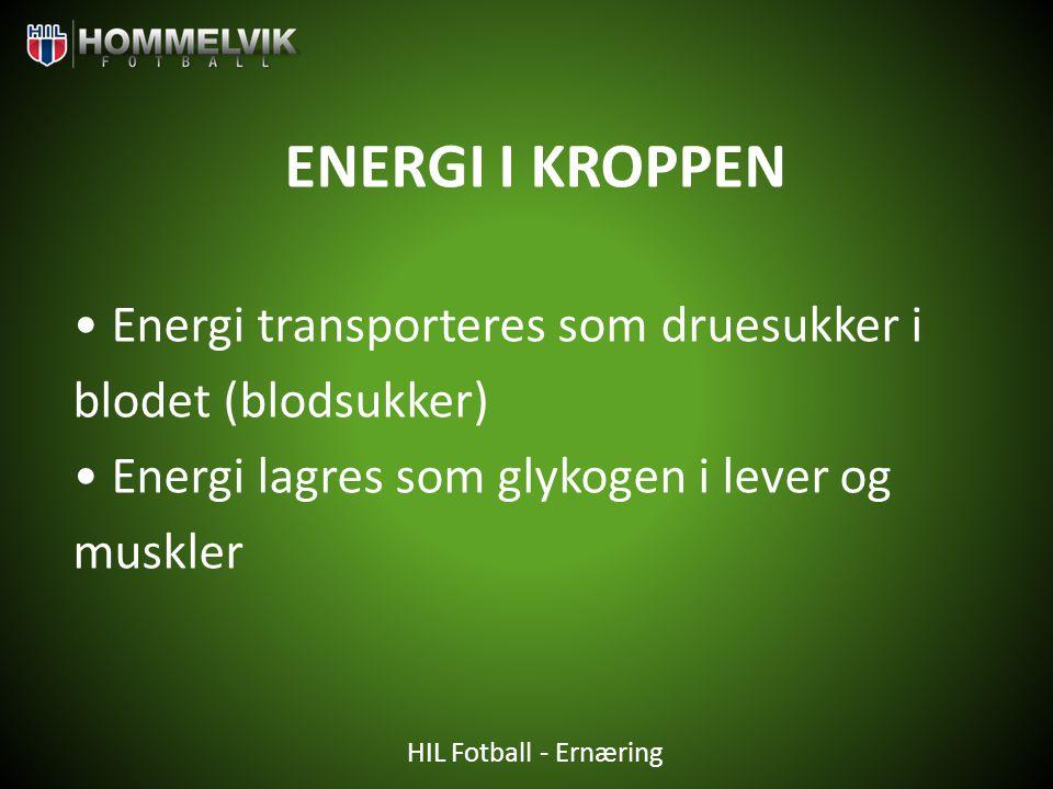 HIL Fotball - Ernæring ENERGI I KROPPEN • Energi transporteres som druesukker i blodet (blodsukker) • Energi lagres som glykogen i lever og muskler
