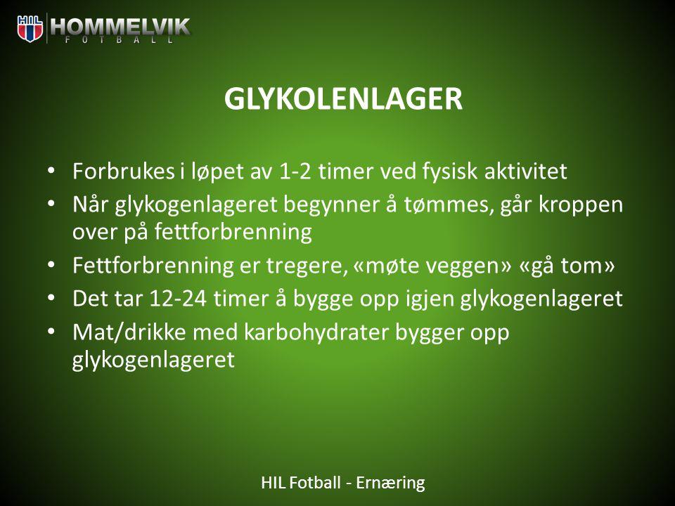 HIL Fotball - Ernæring GLYKOLENLAGER • Forbrukes i løpet av 1-2 timer ved fysisk aktivitet • Når glykogenlageret begynner å tømmes, går kroppen over p
