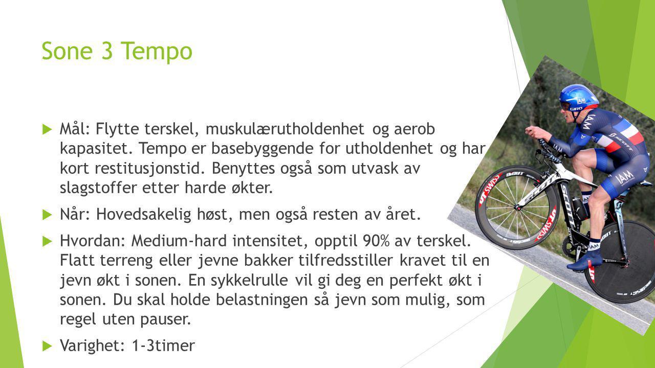 Sone 3 Tempo  Mål: Flytte terskel, muskulærutholdenhet og aerob kapasitet. Tempo er basebyggende for utholdenhet og har kort restitusjonstid. Benytte