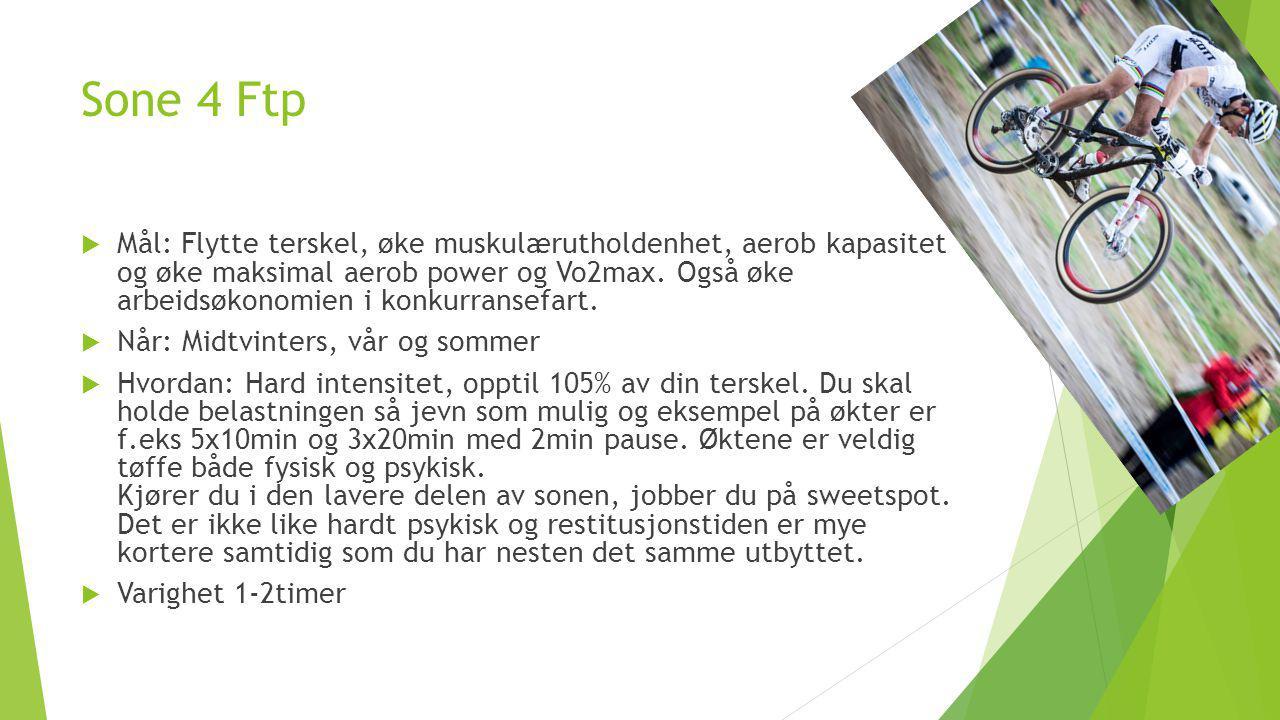 Sone 4 Ftp  Mål: Flytte terskel, øke muskulærutholdenhet, aerob kapasitet og øke maksimal aerob power og Vo2max. Også øke arbeidsøkonomien i konkurra