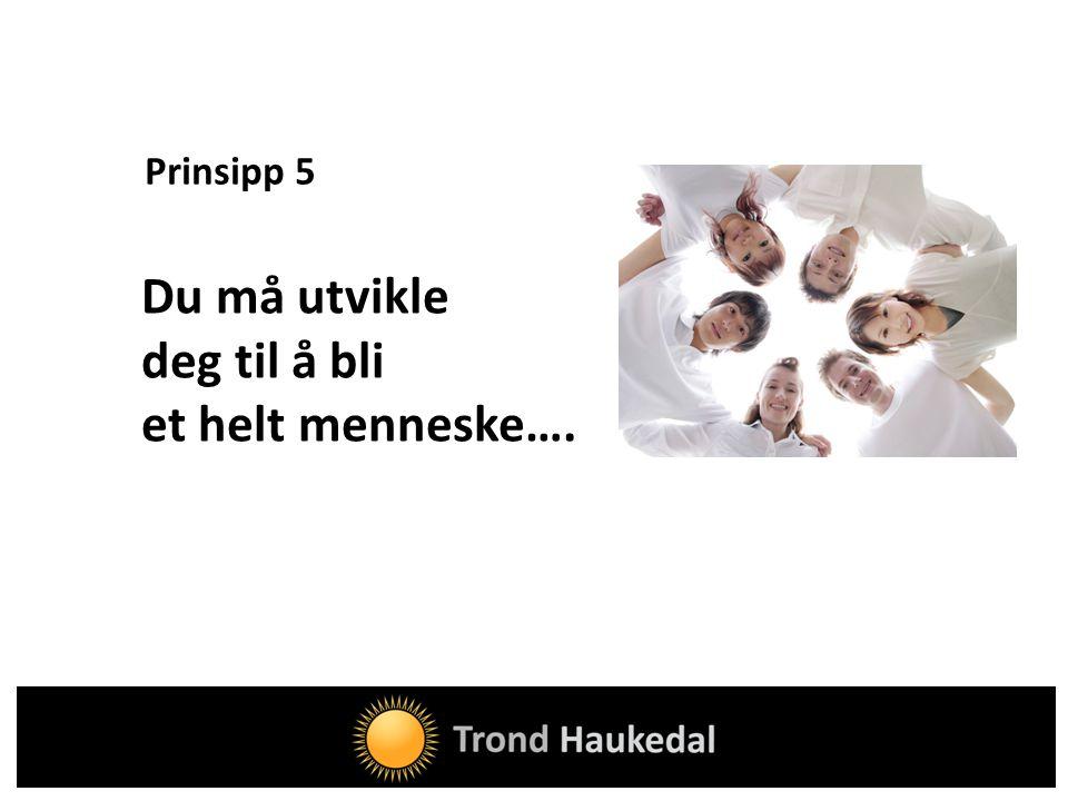 Prinsipp 5 Du må utvikle deg til å bli et helt menneske….