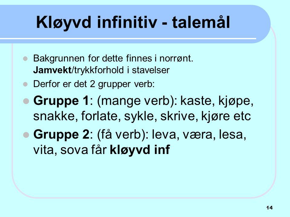 Kløyvd infinitiv - talemål  Bakgrunnen for dette finnes i norrønt. Jamvekt/trykkforhold i stavelser  Derfor er det 2 grupper verb:  Gruppe 1: (mang