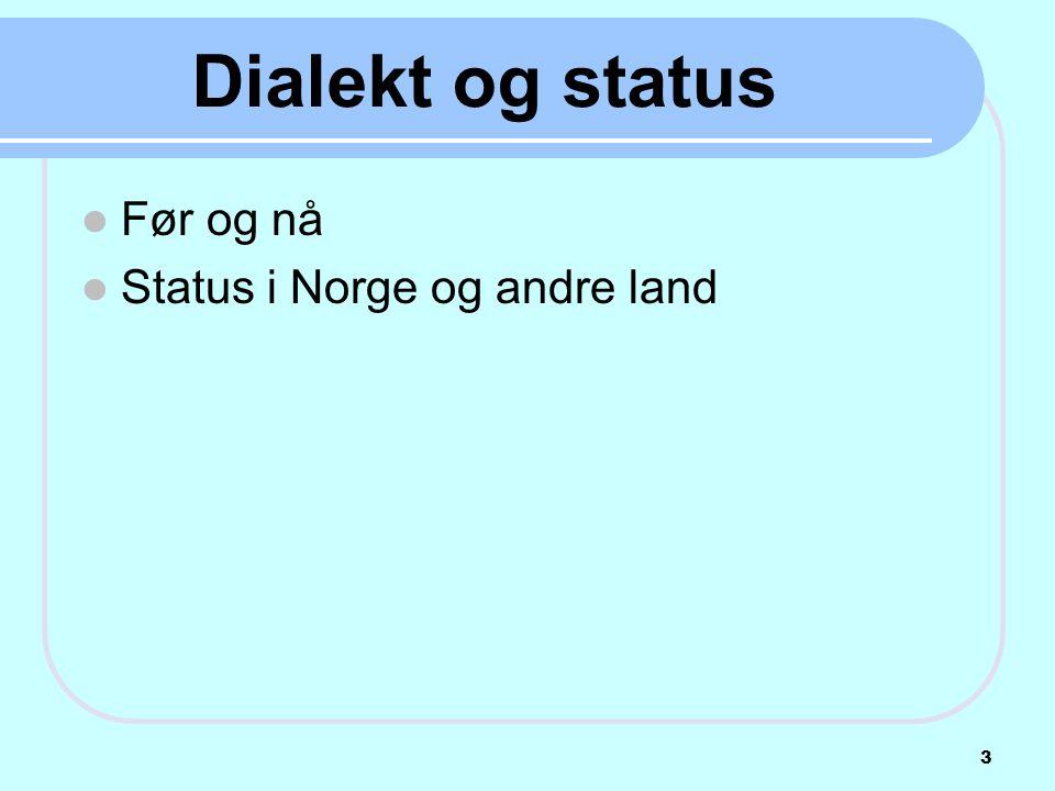 Dialekt og status  Før og nå  Status i Norge og andre land 3
