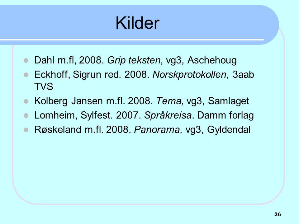 Kilder  Dahl m.fl, 2008. Grip teksten, vg3, Aschehoug  Eckhoff, Sigrun red. 2008. Norskprotokollen, 3aab TVS  Kolberg Jansen m.fl. 2008. Tema, vg3,