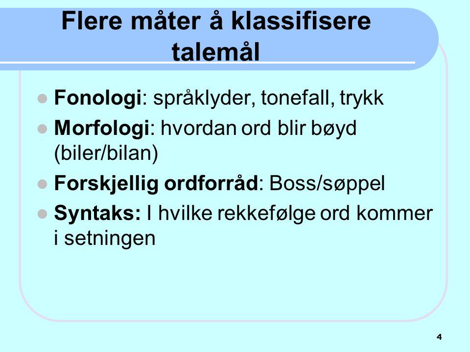 Flere måter å klassifisere talemål  Fonologi: språklyder, tonefall, trykk  Morfologi: hvordan ord blir bøyd (biler/bilan)  Forskjellig ordforråd: B
