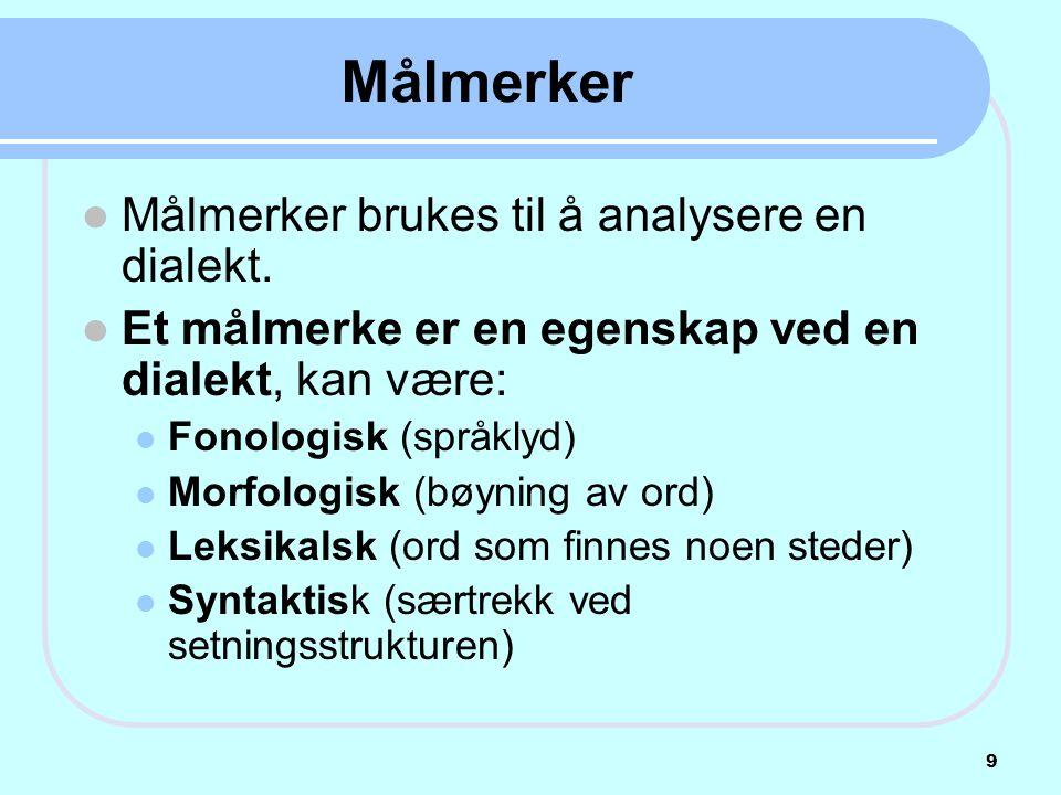  Målmerker brukes til å analysere en dialekt.  Et målmerke er en egenskap ved en dialekt, kan være:  Fonologisk (språklyd)  Morfologisk (bøyning a