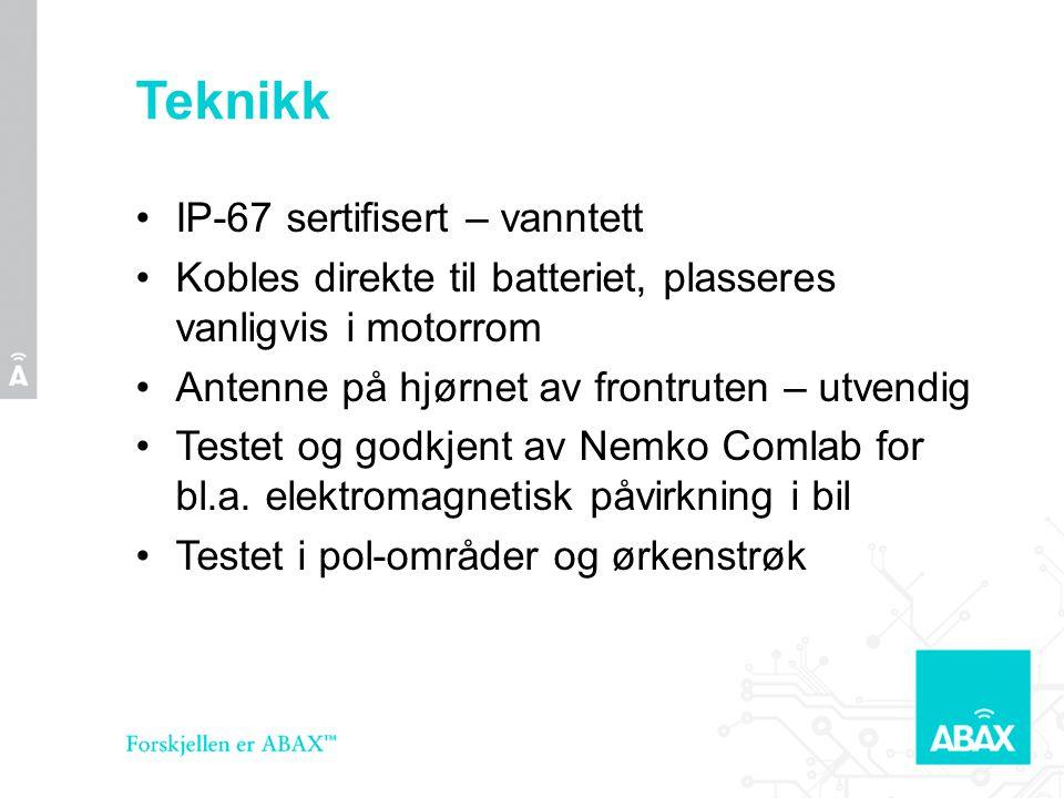 Teknikk •IP-67 sertifisert – vanntett •Kobles direkte til batteriet, plasseres vanligvis i motorrom •Antenne på hjørnet av frontruten – utvendig •Testet og godkjent av Nemko Comlab for bl.a.