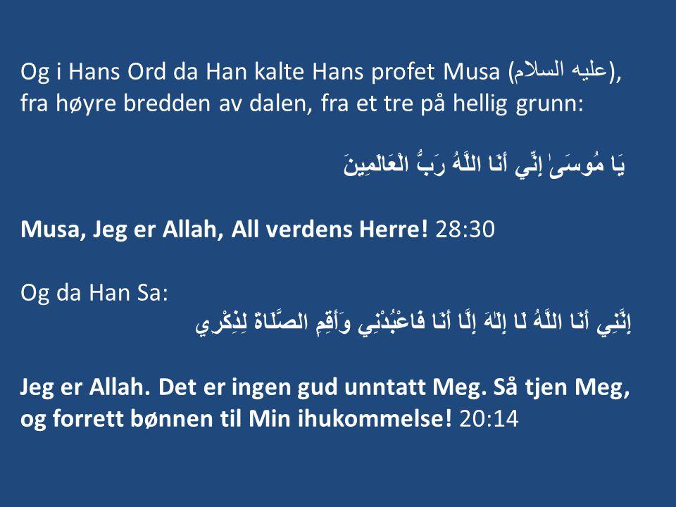 Og i Hans Ord da Han kalte Hans profet Musa ( عليه السلام ), fra høyre bredden av dalen, fra et tre på hellig grunn: يَا مُوسَىٰ إِنِّي أَنَا اللَّهُ