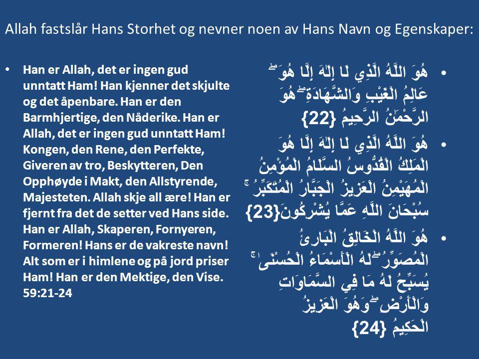 Allah fastslår Hans Storhet og nevner noen av Hans Navn og Egenskaper: • Han er Allah, det er ingen gud unntatt Ham! Han kjenner det skjulte og det åp