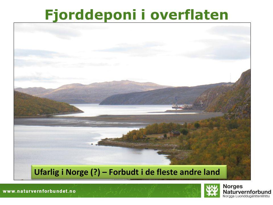 www.naturvernforbundet.no Norgga Luonddugáhttenlihttu Fjorddeponi i overflaten Ufarlig i Norge (?) – Forbudt i de fleste andre land
