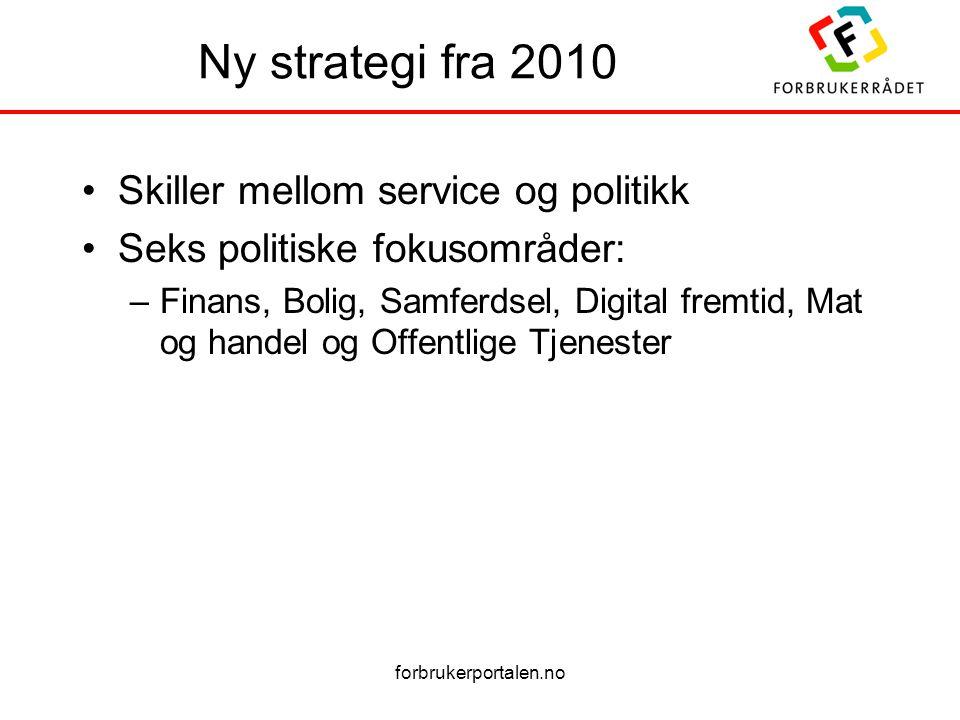 forbrukerportalen.no Ny strategi fra 2010 •Skiller mellom service og politikk •Seks politiske fokusområder: –Finans, Bolig, Samferdsel, Digital fremtid, Mat og handel og Offentlige Tjenester