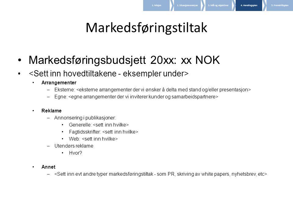 Markedsføringstiltak •Markedsføringsbudsjett 20xx: xx NOK • •Arrangementer –Eksterne: –Egne: •Reklame –Annonsering i publikasjoner: •Generelle: •Fagti