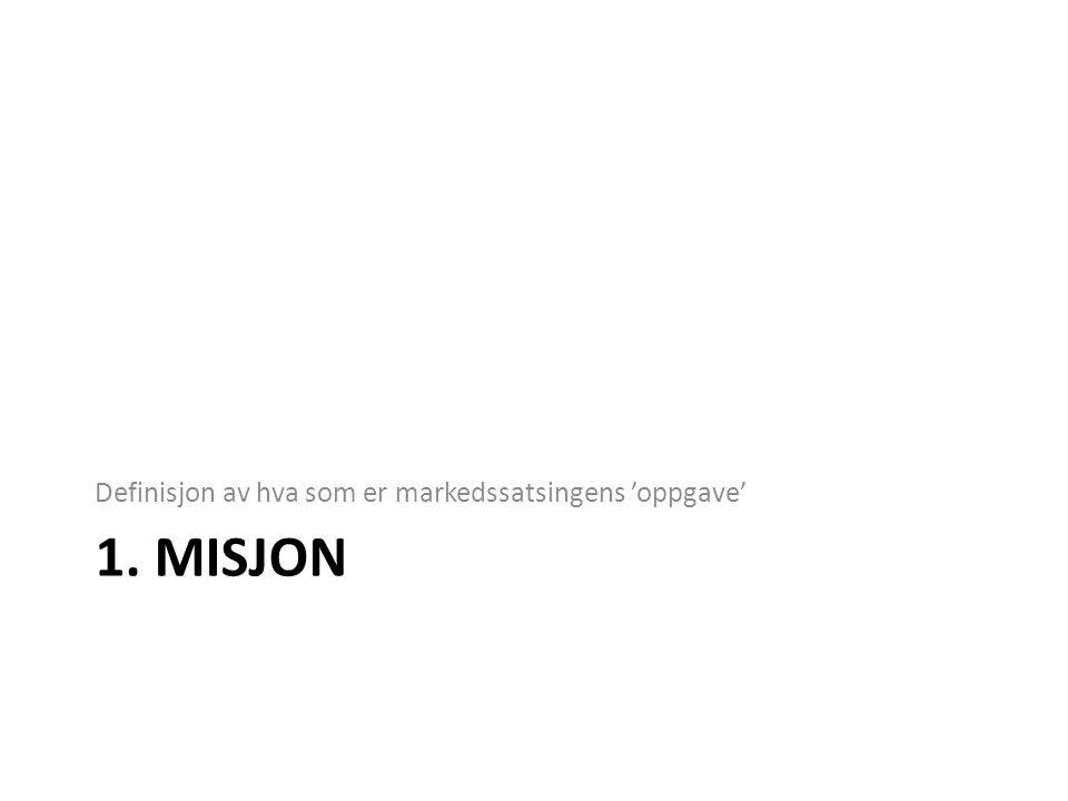 1. MISJON Definisjon av hva som er markedssatsingens 'oppgave'
