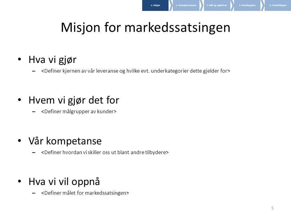 Misjon for markedssatsingen • Hva vi gjør – • Hvem vi gjør det for – • Vår kompetanse – • Hva vi vil oppnå – 5 1. Misjon2. Situasjons-analyse3. Mål og