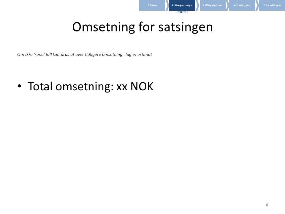 8 Omsetning for satsingen Om ikke 'rene' tall kan dras ut over tidligere omsetning - lag et estimat • Total omsetning: xx NOK 1. Misjon2. Situasjons-a