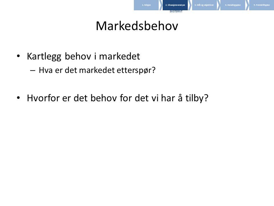 Markedsbehov • Kartlegg behov i markedet – Hva er det markedet etterspør? • Hvorfor er det behov for det vi har å tilby? 1. Misjon2. Situasjons-analys
