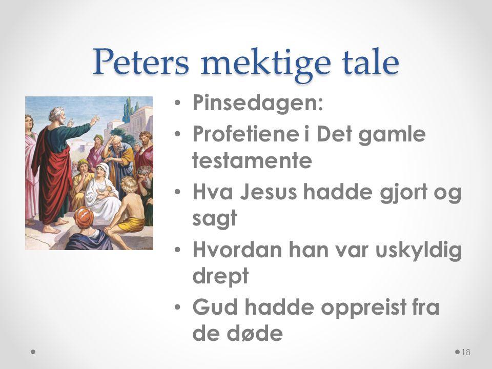 Peters mektige tale • Pinsedagen: • Profetiene i Det gamle testamente • Hva Jesus hadde gjort og sagt • Hvordan han var uskyldig drept • Gud hadde opp