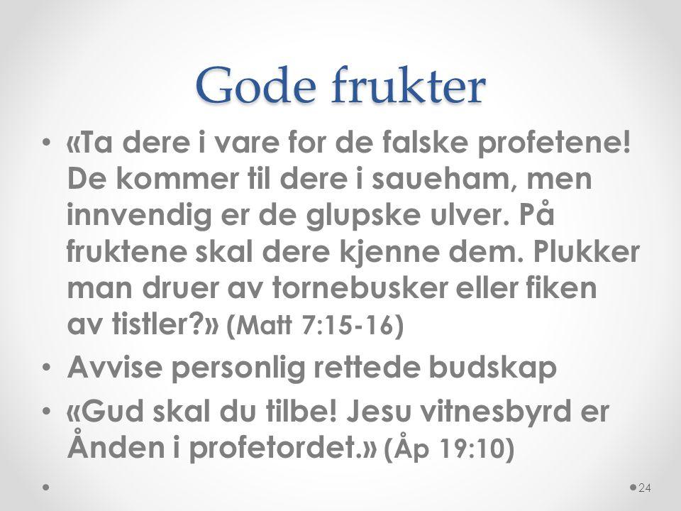 Gode frukter • «Ta dere i vare for de falske profetene! De kommer til dere i saueham, men innvendig er de glupske ulver. På fruktene skal dere kjenne