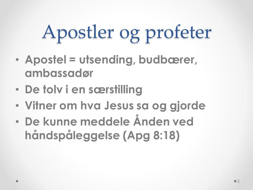 Apostler og profeter • Apostel = utsending, budbærer, ambassadør • De tolv i en særstilling • Vitner om hva Jesus sa og gjorde • De kunne meddele Ånde