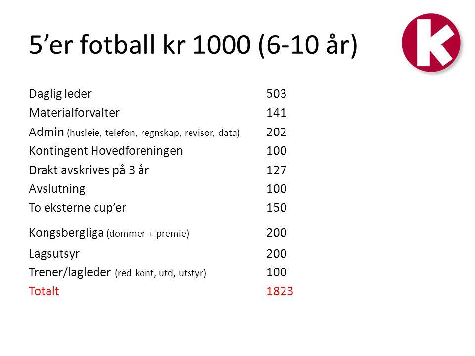 5'er fotball kr 1000 (6-10 år) Daglig leder503 Materialforvalter141 Admin (husleie, telefon, regnskap, revisor, data) 202 Kontingent Hovedforeningen10