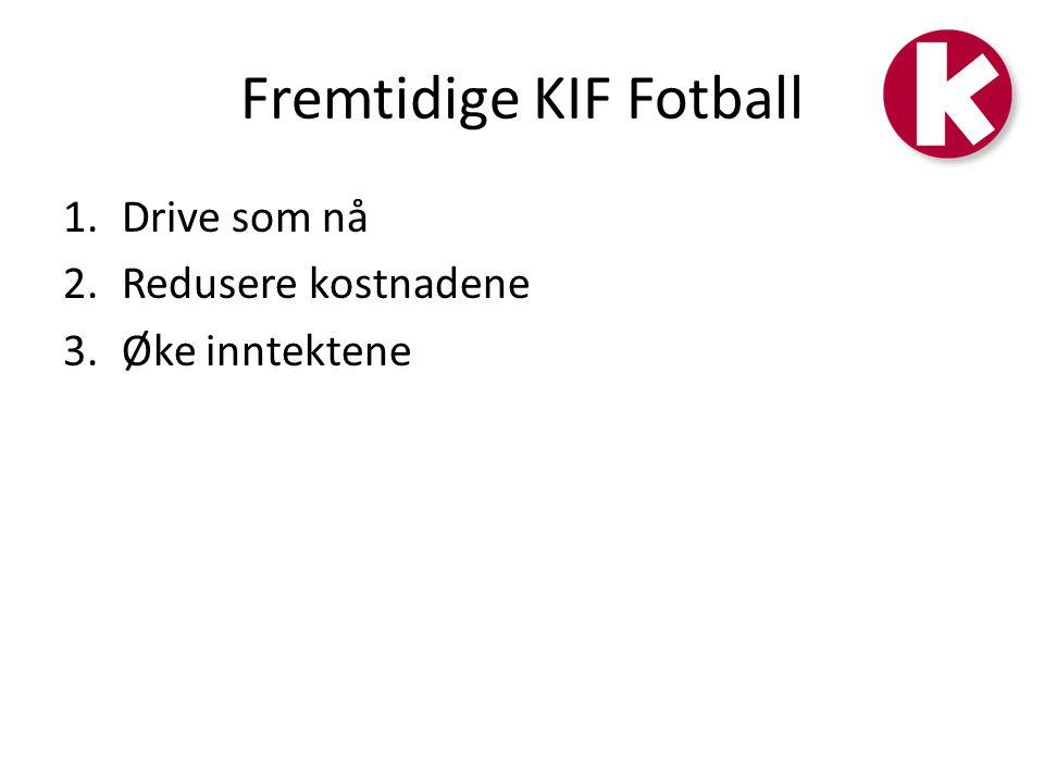 Fremtidige KIF Fotball 1.Drive som nå 2.Redusere kostnadene 3.Øke inntektene