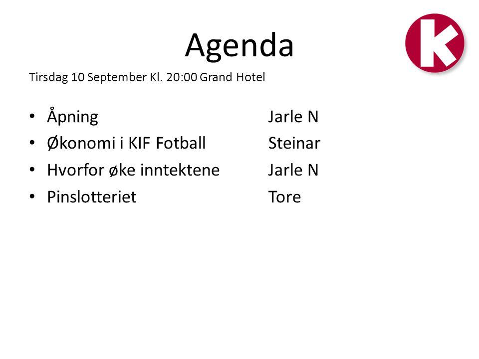 Agenda Tirsdag 10 September Kl. 20:00 Grand Hotel • Åpning Jarle N • Økonomi i KIF Fotball Steinar • Hvorfor øke inntektene Jarle N • Pinslotteriet To