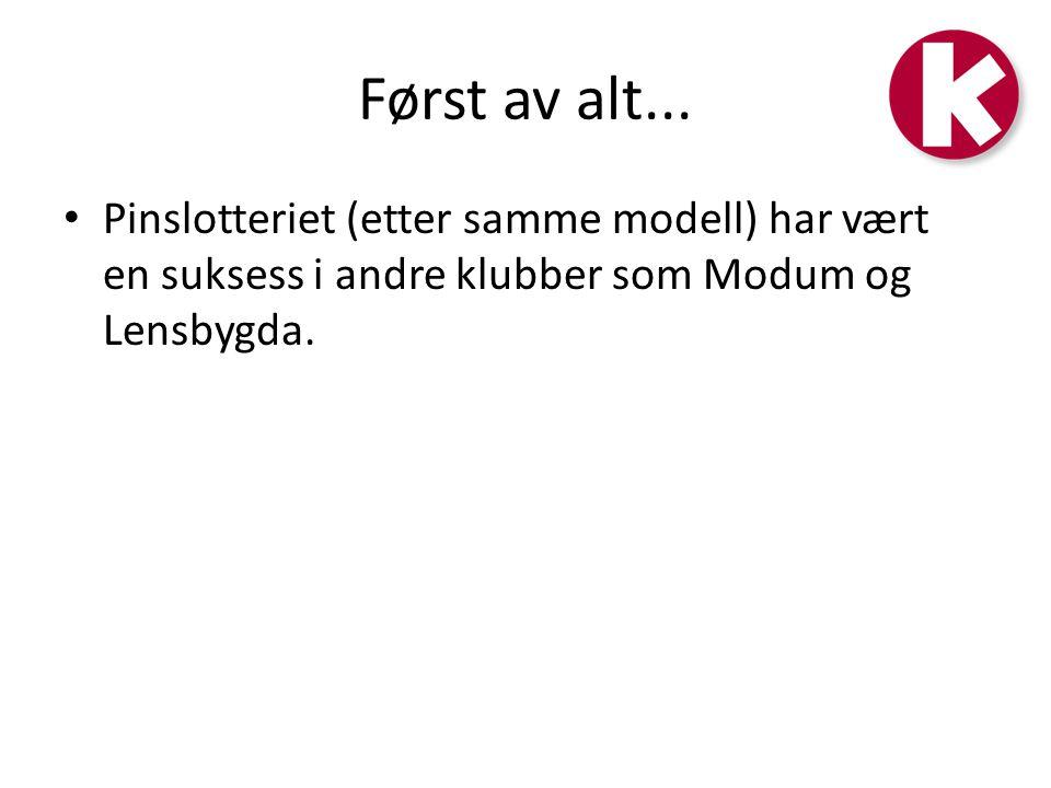 Først av alt... • Pinslotteriet (etter samme modell) har vært en suksess i andre klubber som Modum og Lensbygda.