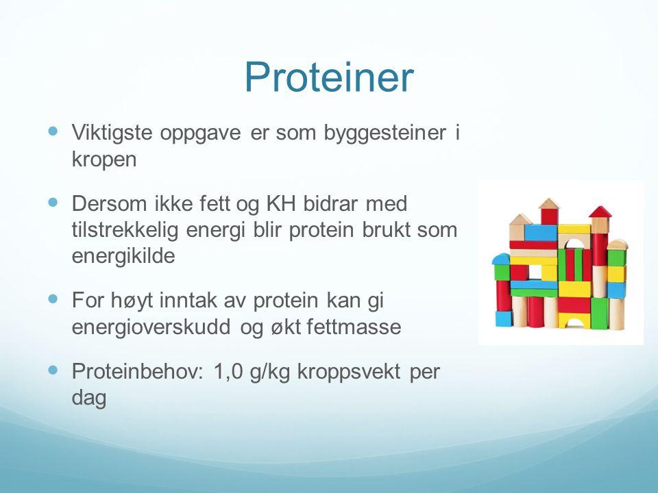 Proteiner  Viktigste oppgave er som byggesteiner i kropen  Dersom ikke fett og KH bidrar med tilstrekkelig energi blir protein brukt som energikilde