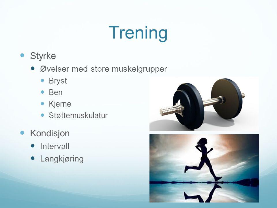 Trening  Styrke  Øvelser med store muskelgrupper  Bryst  Ben  Kjerne  Støttemuskulatur  Kondisjon  Intervall  Langkjøring