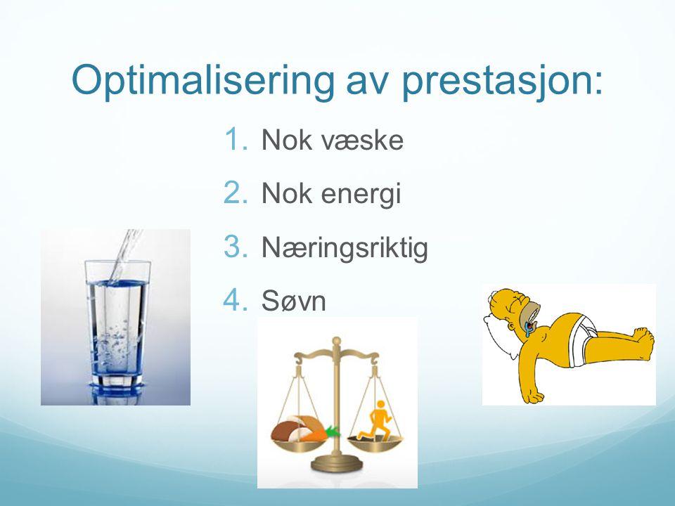 Optimalisering av prestasjon:  Nok væske  Nok energi  Næringsriktig  Søvn