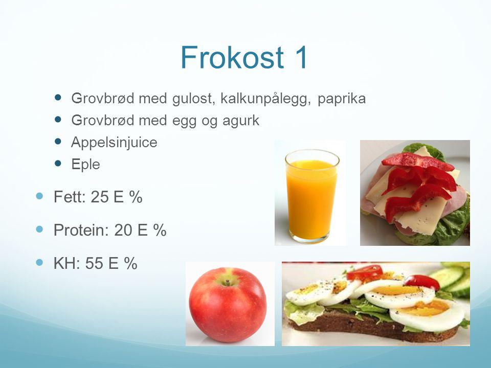 Frokost 1  Grovbrød med gulost, kalkunpålegg, paprika  Grovbrød med egg og agurk  Appelsinjuice  Eple  Fett: 25 E %  Protein: 20 E %  KH: 55 E