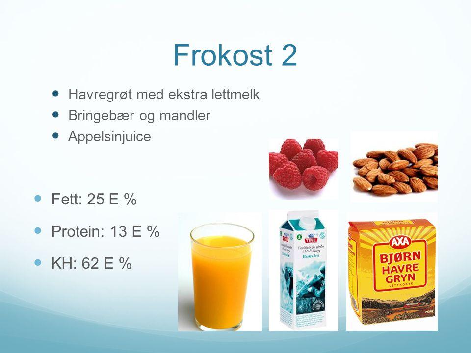 Frokost 2  Havregrøt med ekstra lettmelk  Bringebær og mandler  Appelsinjuice  Fett: 25 E %  Protein: 13 E %  KH: 62 E %