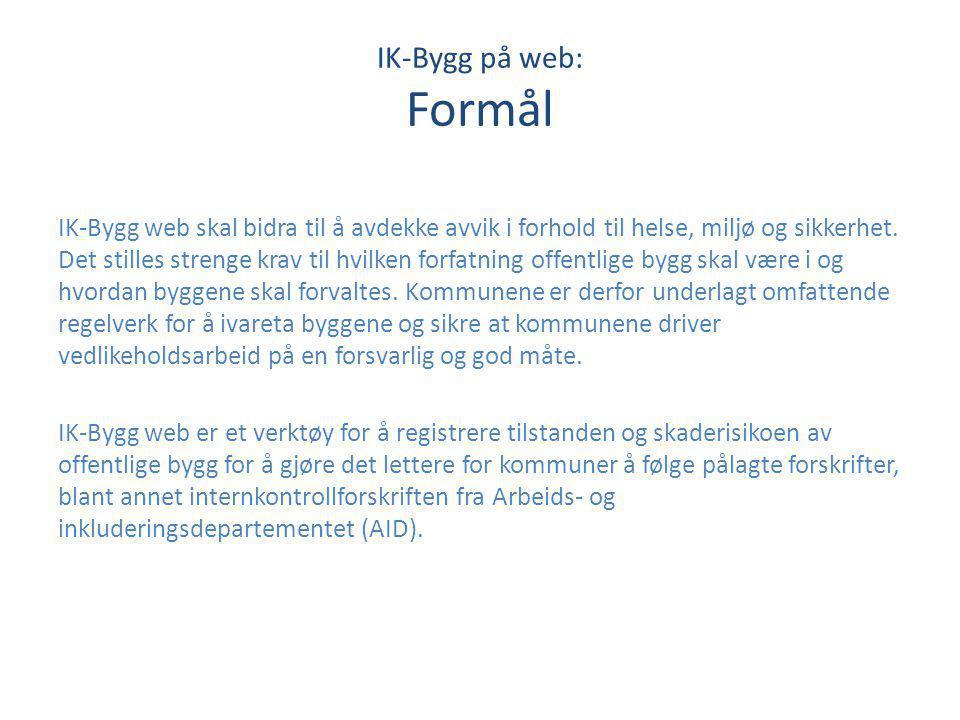 IK-Bygg på web: Formål IK-Bygg web skal bidra til å avdekke avvik i forhold til helse, miljø og sikkerhet. Det stilles strenge krav til hvilken forfat