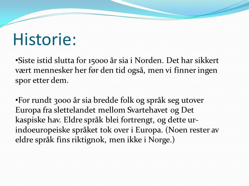 Historie: • Siste istid slutta for 15000 år sia i Norden. Det har sikkert vært mennesker her før den tid også, men vi finner ingen spor etter dem. • F