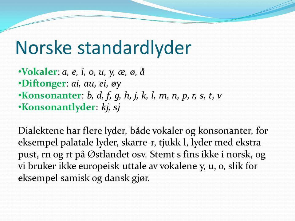 Norske standardlyder • Vokaler: a, e, i, o, u, y, æ, ø, å • Diftonger: ai, au, ei, øy • Konsonanter: b, d, f, g, h, j, k, l, m, n, p, r, s, t, v • Kon